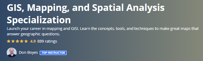 GIS, Mapping, and Spatial Analysis Specialization (Coursera)