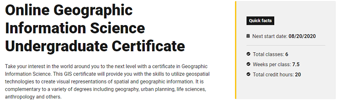 Online Geographic Information Science Undergraduate Certificate (Arizona State University)